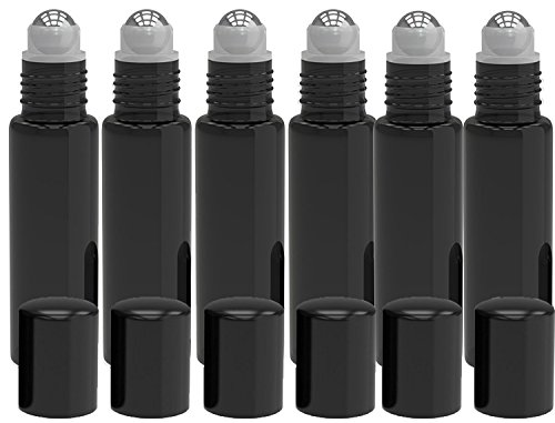 6 Pack - Empty Roll on Glass Bottles [STAINLESS STEEL ROLLER] 10ml Refillable Color Roll On for Fragrance Essential Oil - Metal Chrome Roller Ball - 10 ml 1/3 oz - Black Color