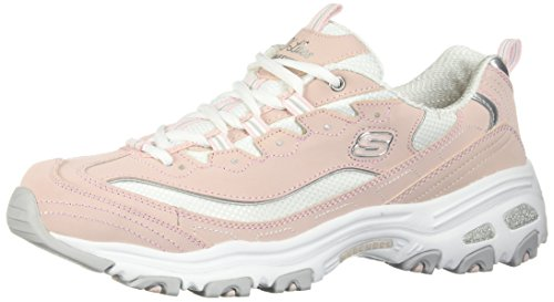 Skechers Sport Women's D'Lites-Biggest Fan Sneaker, Light Pink/White, 8.5 M US
