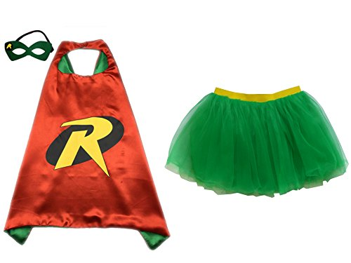 Costumes Adults Robin (So Sydney Superhero TUTU, CAPE & MASK Adult Teen Plus Complete Halloween Costume (XL (Plus Size),)