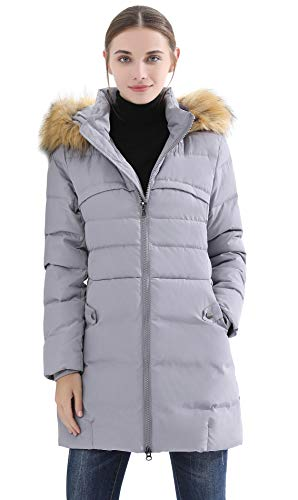 (Obosoyo Women's Hooded Thickened Long Down Jacket Winter Down Parka Puffer Jacket Grey)