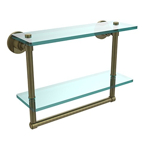 Allied Brass WS-2TB/16-ABR Washington Square Collection 16 Inch Two Tiered Glass Shelf with Integrated Towel Bar, Antique Brass