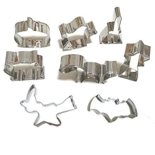 Halloween Cookie Cutters Sets - 8 Pieces - Stainless Steel Mold DIY Baking Tools (Pumpkin, Shooting Star, Owl, Bat, Ghost, Witch, Witch's Broom and Cat)