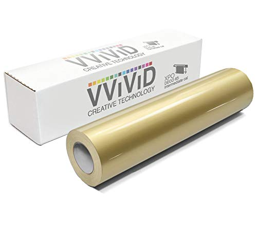 VViViD Gold Metallic Gloss 11.8 Inches x 84 Inches (7 Feet) DECO65 Permanent Adhesive Craft Vinyl for Cricut, Silhouette & Cameo