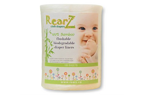 Rearz - All Natural, 100% Bamboo Diaper Liners - 100 Sheets (1 Pack)