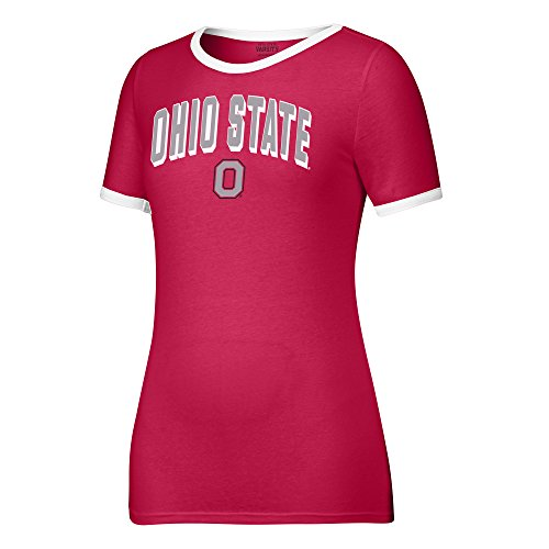 NCAA Ohio State Buckeyes Women's Arched Name Ringer Tee, XX-Large, Red/White -