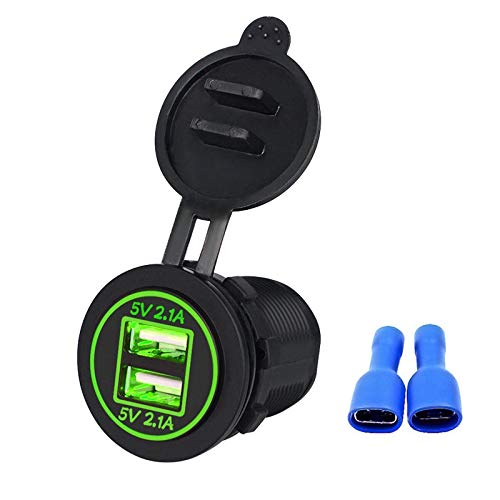Linkstyle 12V 4.2A Dual USB Charger Socket Waterproof Power Outlet with Green LED Indicator Light & Dual Charging Ports for 12V Car RV Boat Marine Motorcycle Mobile