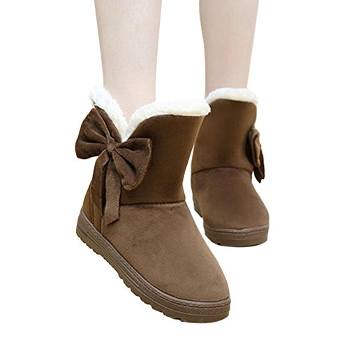 Slip on Comfort Bowknot Coffee Warm Boots Fit Flats Casual Women Winter Shoes Meijunter Snow tqw1pvz4A