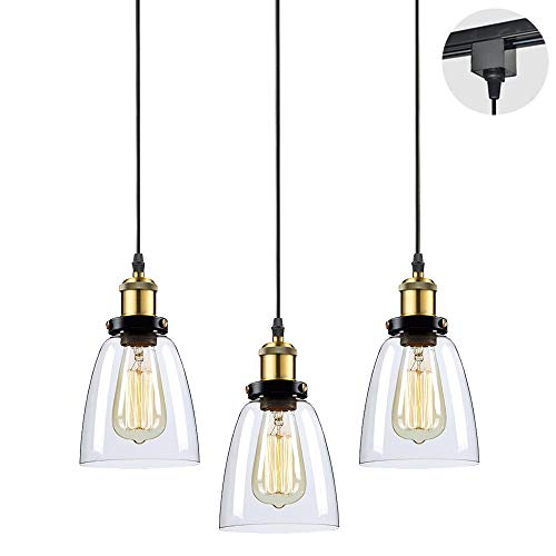 STGLIGHTING 3-Pack H-Type Track Light Pendants Restaurant Chandelier Glass Lampshade Pendant Light Industrial Factory Pendant Lamp Bulb Not Included