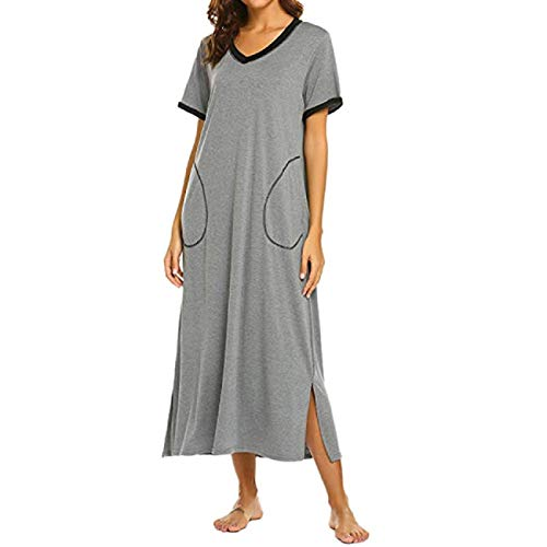 (FAPIZI Nightgown Womens Sleepshirts Short Sleeve Nightshirt Maxi Long Sleepwear Pajamas with Pockets Gray)