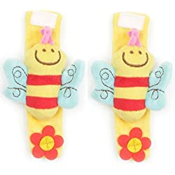 Better-By-Tim Baby Infant Plush Wrist Strap Soft Toy Rattle Animal Shape Kid's Hand Toy (0 - 24 months), Bumble Bee 2-Pack