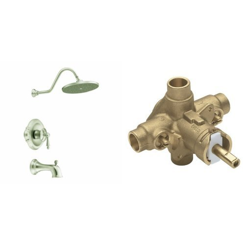 Moen TS314BN-2570 Waterhill Posi-Temp Tub/Shower with Valve, Brushed Nickel