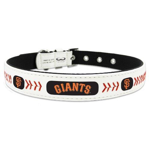 MLB San Francisco Giants Classic Leather Baseball Dog Collar (Small)