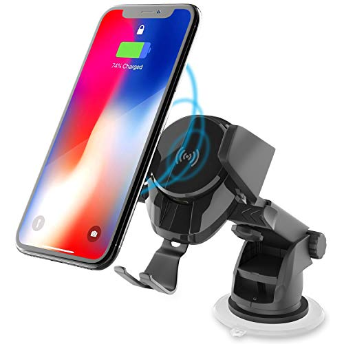 Carismatic Wireless Fast Car Charger Mount for iPhone X 8 Plus Samsung Galaxy S9 Plus S8 Edge Note 9 & All QI-Enabled Devices Standard Charge Gravity Air Easy One Touch