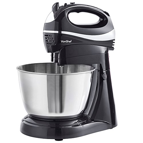 VonShef 2 in 1 Twin Hand and Stand Mixer, Black, 300W with 5 Speeds & Turbo...