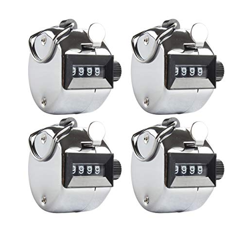 Aonal 4-Pack Tally Counter Handheld - 4 Digit Number Lap Counter Manual Mechanical Clicker with Finger Ring Sliver
