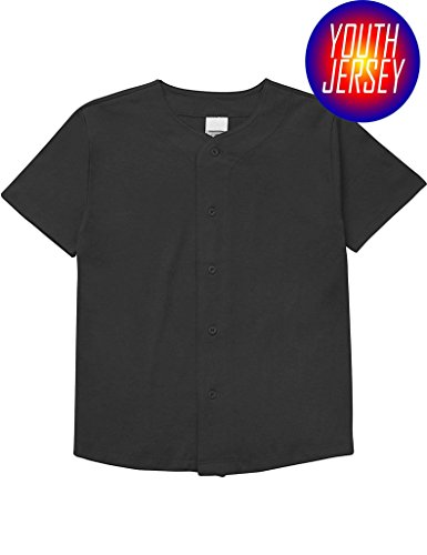 OLLIE ARNES Men's Athletic-Inspired Basic Button-Down Baseball Jersey Youth-Black-L