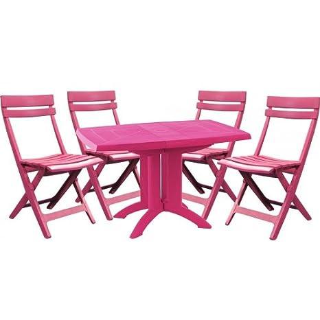 Salon de jardin GROSFILLEX : table + 4 chaises - vert anis ...