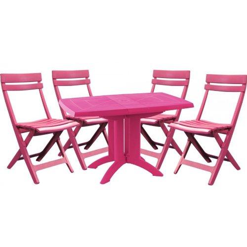 Salon de jardin GROSFILLEX : table + 4 chaises - vert anis: Amazon ...
