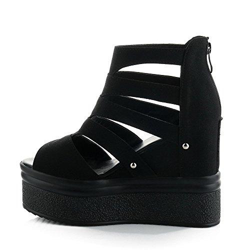 AgooLar Women's High Heels Solid Zipper Peep Toe Sandals Black UQqITL