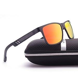 ELITERA Aluminum Magnesium Polarized Men Sunglasses For Sports Driving Traval E6560 (Black&Red, 58)