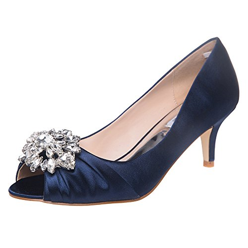 SheSole Womens Low Heel Dress Pumps Rhinestone Open Toe Wedding Shoes Navy Blue US 9 (Blue Peep Toe Shoes)