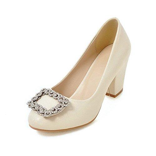 Amoonyfashion Donna Tacco Alto Solido Tacco Pompe-scarpe Beige