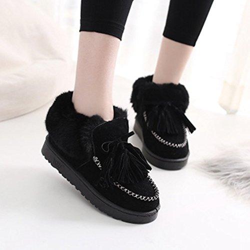 GIY Womens Suede Snow Ankle Boots Winter Warm Velvet Lined Round Toe Flat Tassel Slip On Snow Bootie Black nsqVq8kz