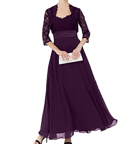 Jaket Partykleider Brautmutterkleider Ballkleider Chiffon mit Elegant Langes Abendkleider Damen Charmant Traube Spitze XwYq0v0