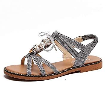 Happy L Beautiful Sequins Beaded Bohemian Casual Sandals