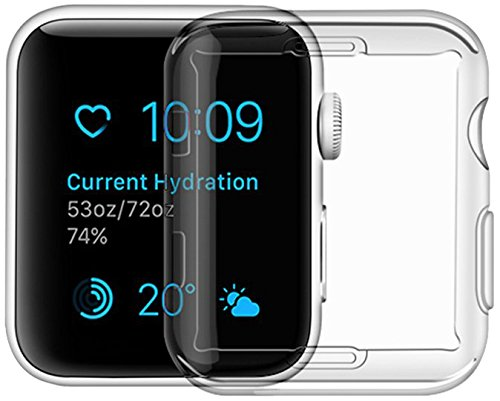 Price comparison product image Apple Watch Series 3 Case, iphone Watch 3 TPU Screen Protector All-around Protective 0.3mm Hd Clear Ultra-thin Cover (for Apple Watch Series 3 38mm)