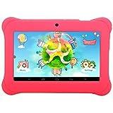 iRULU - Tablet para niños de 7 pulgadas, 1GB RAM, 8GB Nand Flash Quad Core, Resolución HD de 1024x600, Android 4.4 KitKat, Certificación GMS de Google, Color Rosa con funda de silicona rosa