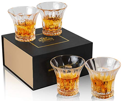 Crystalline Cocktail - KANARS Whiskey Glass - Set of 4 - King Old Fashioned Cocktail Glass - Premium 10 Oz Crystal Tasting Tumblers for Scotch or Bourbon - Unique Elegant Gift Box For Wedding
