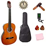 Classical Guitar 3/4 Size 36 inch Kids Guitar Acoustic Guitar for Beginners 6 Nylon Strings Guitar Starter Kits with Thick Waterproof Bag Tuner Strap Picks Wipe