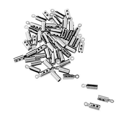 HooAMI Stainless Steel Silver Fold Over Cord Tip Ends Crimps Jewelry Findings 50pcs, 10x3mm -