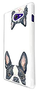 1022 - Cool fun cute pug cat kitten love animals pet hiding playful illustration art kawaii Design For Sony Xperia M2 Fashion Trend CASE Back COVER Plastic&Thin Metal - White