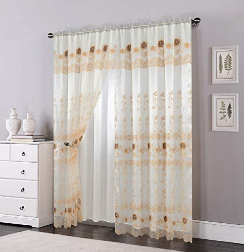 OPT. Brand. Double Layers Voile Sheer Embroidered Rod Pocket Window Curtain Panel and Valance. 81005 Beige