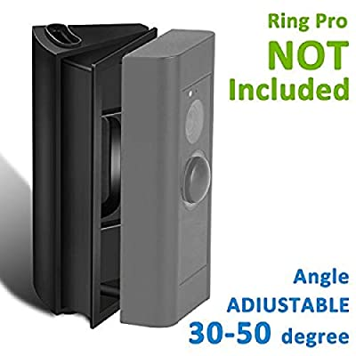 HOMONO 30 to 50 Degree Ring Video Pro (Released in 2016), Homono Angle Adjustment Adapter/Mounting Plate/Bracket/Wedge Kit (Doorbell NOT Included), Version-Black
