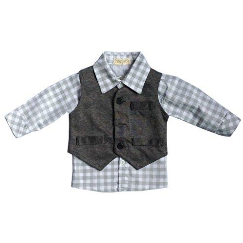 New Newborn Baby Boy Grey Waistcoat + Pants + Shirts Clothes Sets (12-24 Month, Gray)