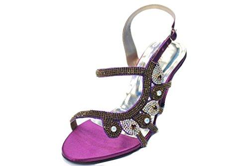 Wear & Walk UK W & W Mujeres Señoras Sandalias de moda de noche confort diamante novia boda hecho a mano zapatos tamaño 4–10(Sumit) morado