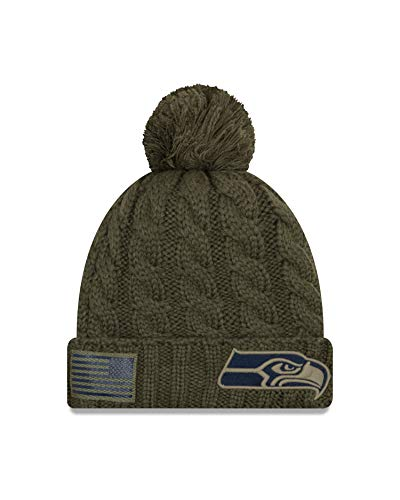 New Era Embroidered Beanie - New Era Women 2018 Salute to Service Sideline Cuffed Knit Hat – Olive (Seattle Seahawks)