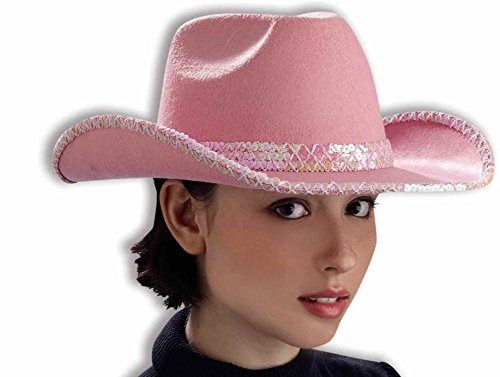 Forum Novelties Junior's Standard DLX Cowgirl Hat with Pink Sequin Party Supplies, 12 x 12 x 8