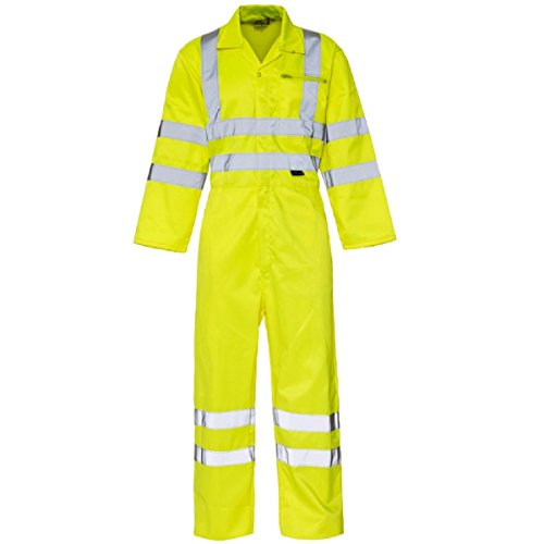 Men's Hi Vis Visibility Overall Boiler Suit Coverall Workwear Full Body Class 3, (Large, Yellow)