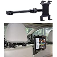 Premium Multi Passenger Universal Headrest Cradle Car Mount for Apple ipad / ipad 2 / ipad 3 / ipad 4 / ipad Air and ipad Mini w/ Swivel Vibration-Free Cradle (revised - with all 7-12 inch tablets)