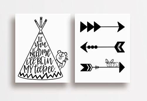 Two Piece Cardstock Nursery Prints 8.5 x11 ''Black and White Teepee'' by June & Lucy