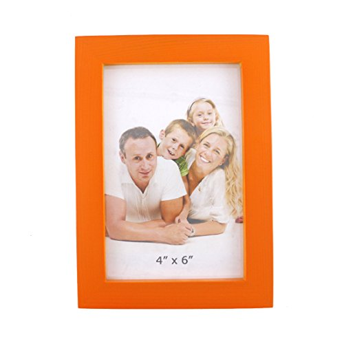 Rectangular Wood Desktop Family Picture Photo Frame with Glass Front (Orange, 4x6) (Orange Box Photo)