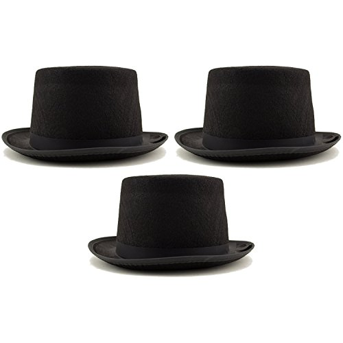 [Deco4Fun Sleek Black Top Hat Felt & Satin Fancy Party Dress Up Costume Cosplay Magician Accessory for Men and Women (3] (Dance Team Costumes Competition)