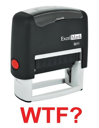 WTF? Red Self-Inking Rubber Stamp