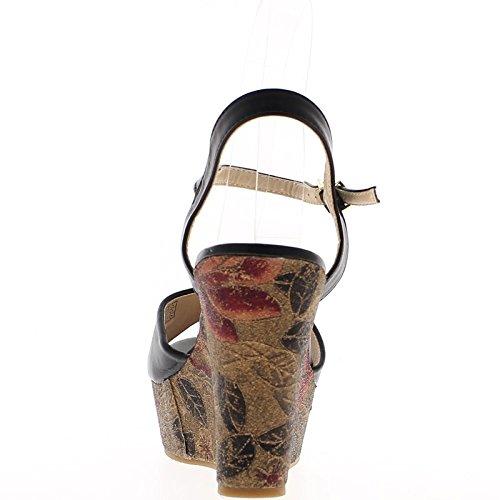 Schwarzer Keil Sandalen Ferse 11 cm und tray