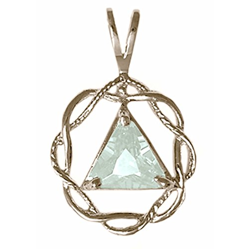 Alcoholics Anonymous AA Ster. Pendant Medium Size CZ Soberstone , #566 (03 March Lt. Blue)