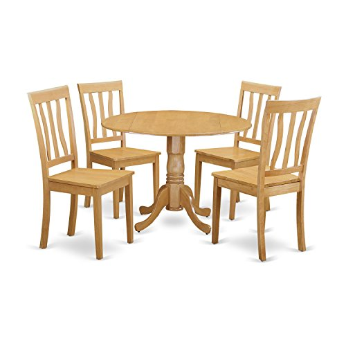 East West Furniture DLAN5-OAK-W 5 Piece Dinette Table and 4 Kitchen Chairs Set